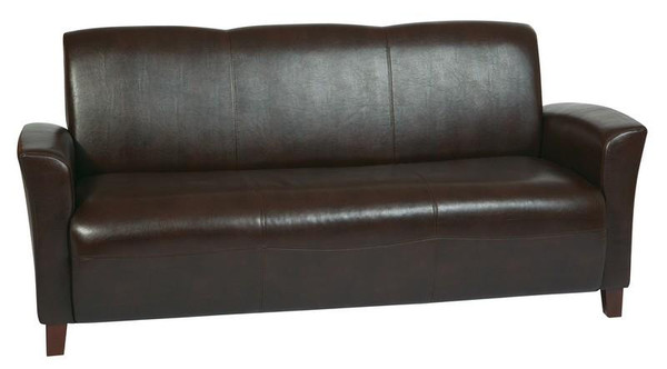 Office Star Mocha Bonded Leather Sofa With Cherry Legs SL2273EC9