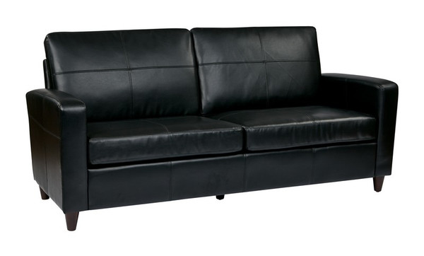 Office Star Black Bonded Leather Sofa With Espresso Legs SL2813-EC3