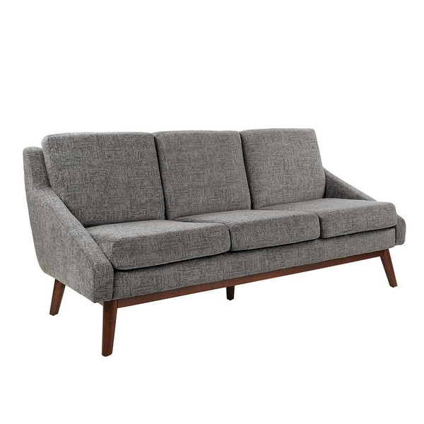 Office Star Davenport Sofa In Charcoal Fabric With Coffee Legs K/D SL4433-MC4