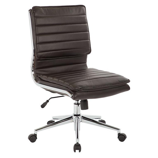 Office Star Armless Mid Back Manager'S Faux Leather Chair In Espresso W/ Chrome Base