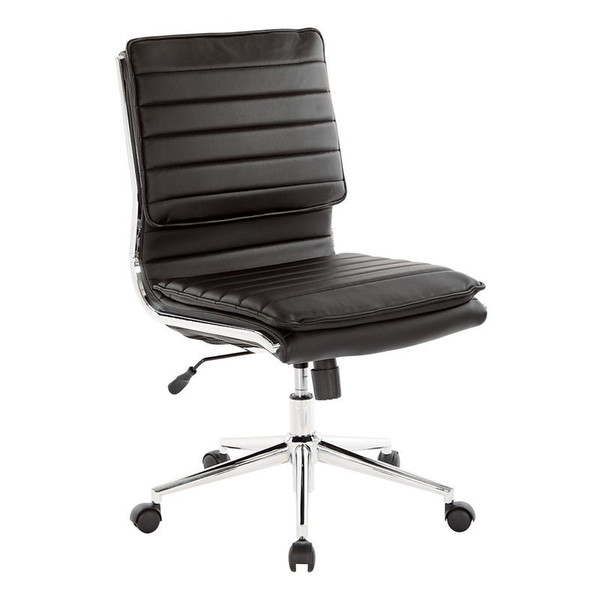 Office Star Armless Mid Back Manager'S Faux Leather Chair In Black W/ Chrome Base