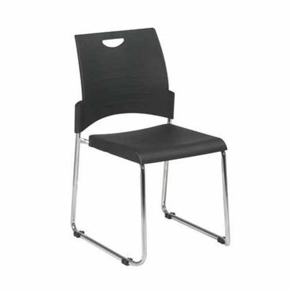 Office Star Straight Leg Black Stacking Chair w/ Seat & Back-Pack Of 4 STC8300C4-3