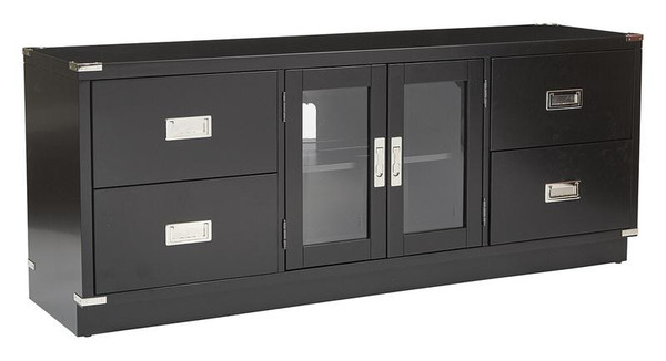 Office Star Wellington Tv Console In Black Finish WEL1393-BLK