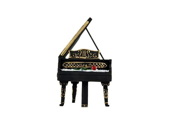 W8000-177A Oh! Trendy Grand Piano Piggy Bank With Rose - Black