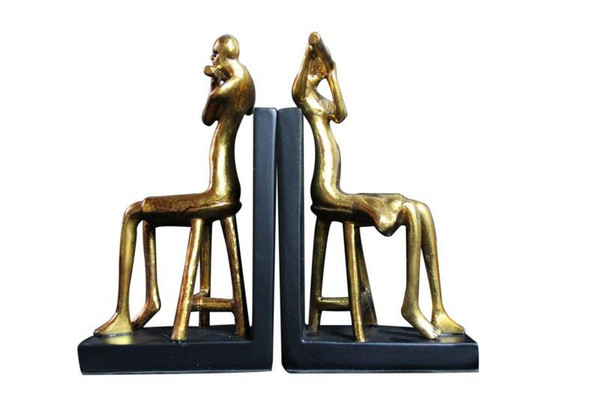 W8000-35 Oh! Trendy Vintage Golden Flute Player Bookends