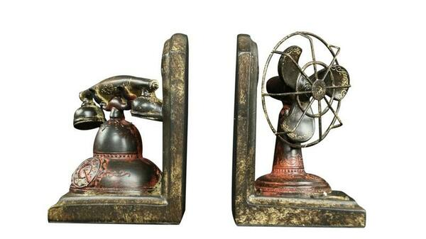 W8000-39 Oh! Trendy Vintage Telephone/Fan Bookends