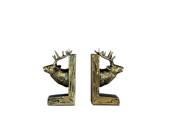 W8000-54 Oh! Trendy Brass Finished Deer Bookends