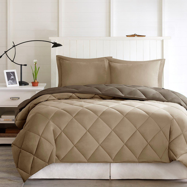 3M Scotchgard Diamond Quilting Comforter Set -Full/Queen BASI10-0196 By Olliix