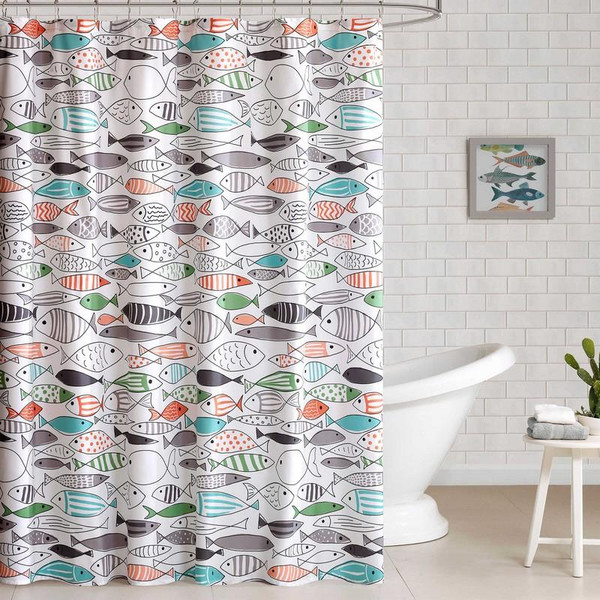 "Hipstyle Sardinia Cotton Printed Shower Curtain -72X72"" HPS70-0035 By Olliix"