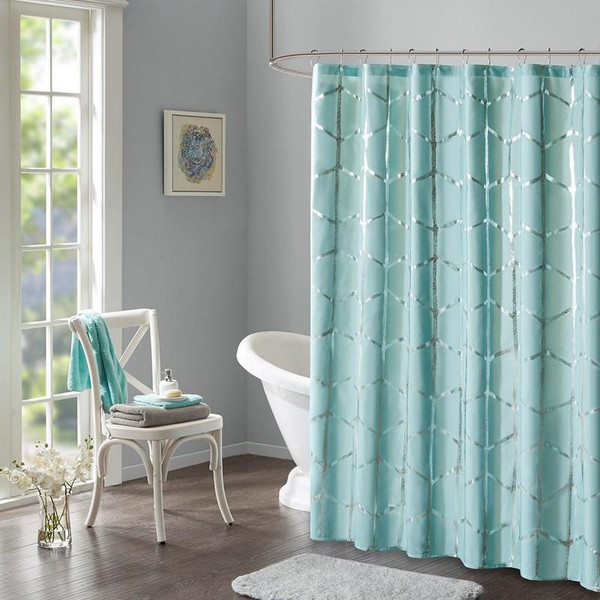 "Intelligent Design Printed Metallic Shower Curtain -72X72"" ID70-1291 By Olliix"