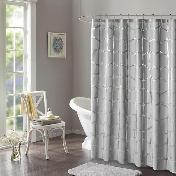 "Intelligent Design Printed Metallic Shower Curtain -72X72"" ID70-1292 By Olliix"