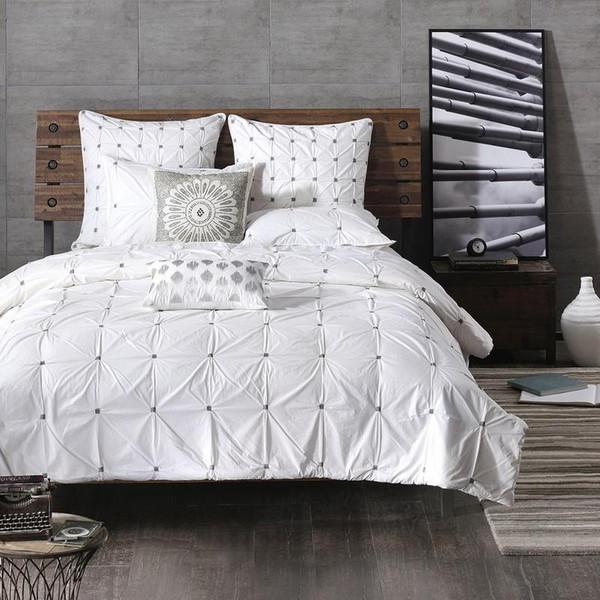 3 Piece Elastic Embroidered Cotton Comforter Set -Full/Queen II10-596 By Olliix