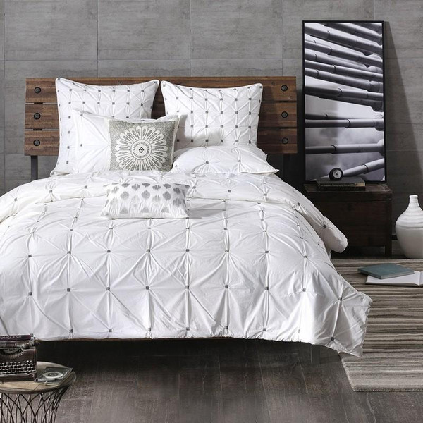 3 Piece Elastic Embroidered Cotton Duvet Cover Set -Full/Queen II12-598 By Olliix