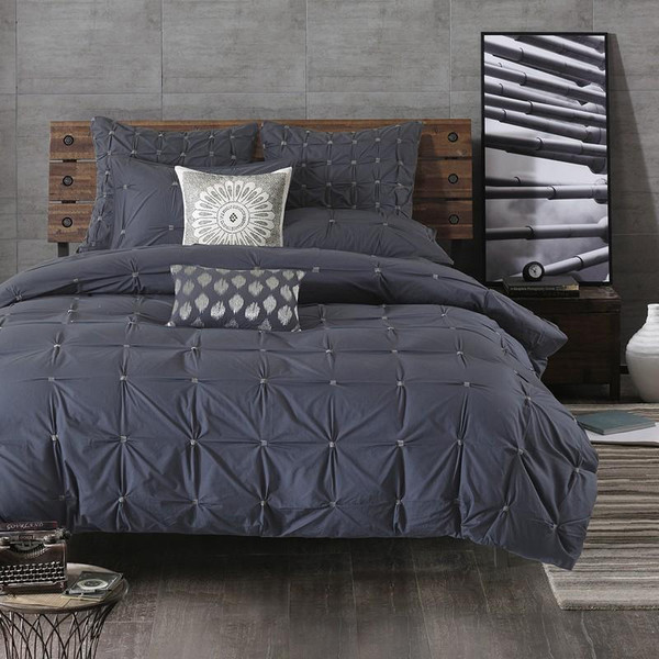 3 Piece Elastic Embroidered Cotton Duvet Cover Set King/Cal King II12-802 By Olliix