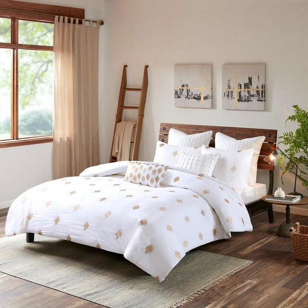 3 Piece Cotton Percale Duvet Cover Mini Set -King/Cal King II12-882 By Olliix