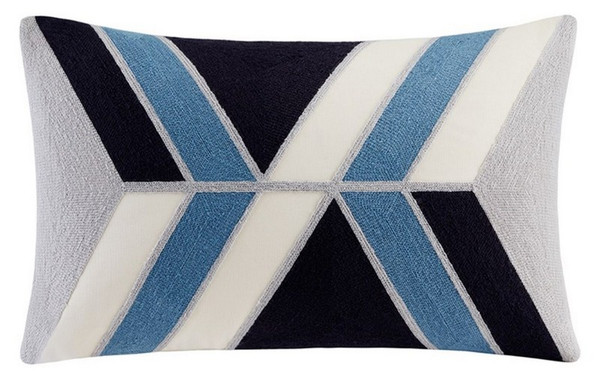 "Ink Ivy Aero Embroidered Abstract Oblong Pillow -12X20"" II30-758 By Olliix"