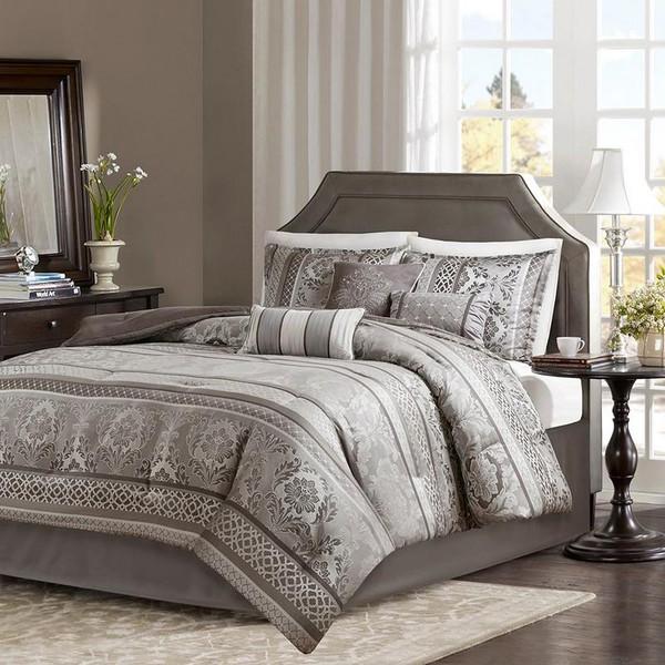 Madison Park 7 Piece Jacquard Comforter Set - Cal King MP10-4884 By Olliix