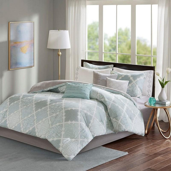 Madison Park 9 Piece Cotton Sateen Comforter Set -Queen MP10-5089 By Olliix