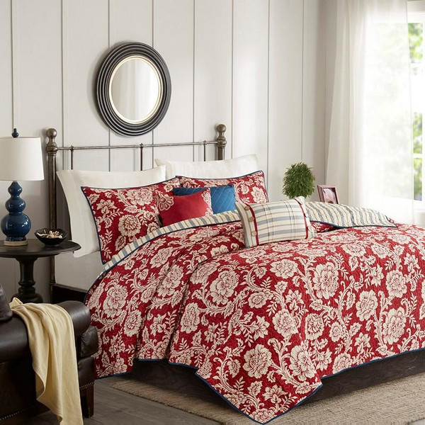 6 Piece Cotton Twill Reversible Coverlet Set -King/Cal King MP13-5018 By Olliix