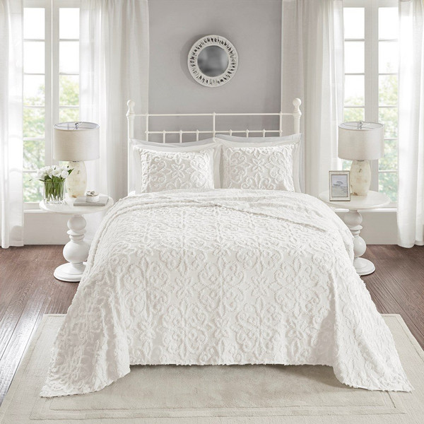 3 Piece Cotton Chenille Bedspread Set -Full/Queen MP13-5320 By Olliix