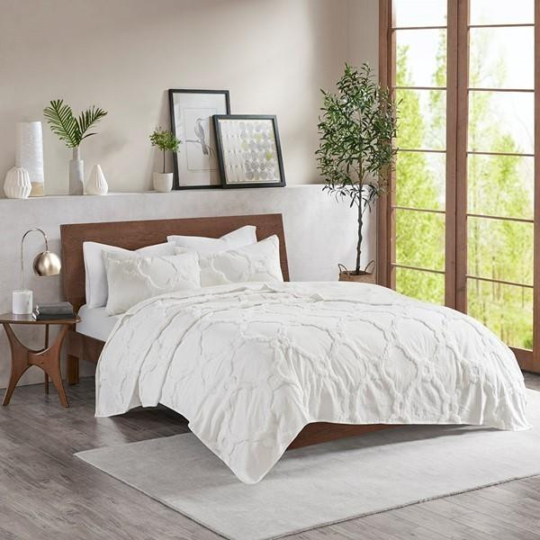 Madison Park Pacey Cotton Chenille Geometric Coverlet Set MP13-5989 By Olliix