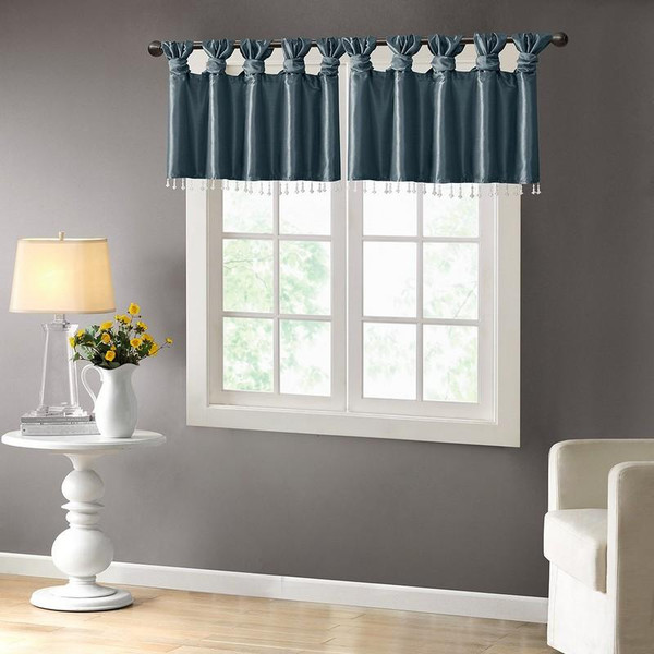 """100% Polyester Twisted Tab Valance With Beads -50X26"""" MP41-4450 By Olliix"""