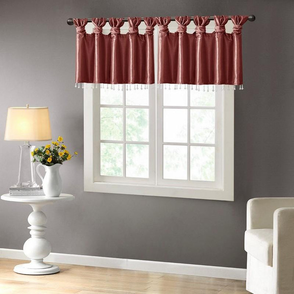 """100% Polyester Twisted Tab Valance With Beads -50X26"""" MP41-4451 By Olliix"""