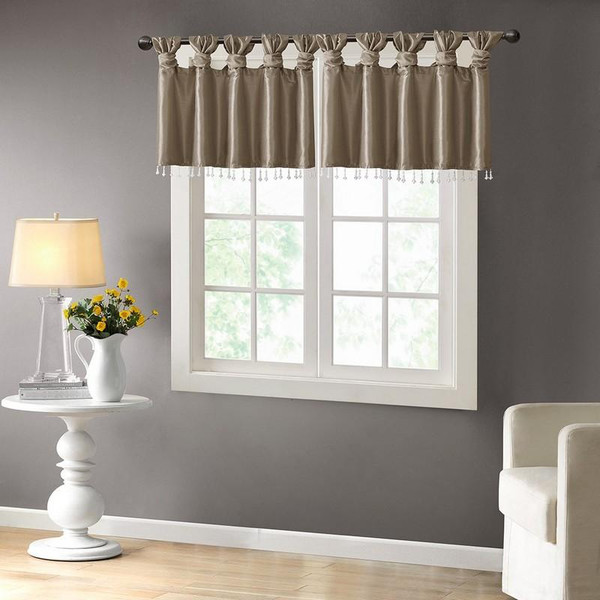 """100% Polyester Twisted Tab Valance With Beads -50X26"""" MP41-4452 By Olliix"""
