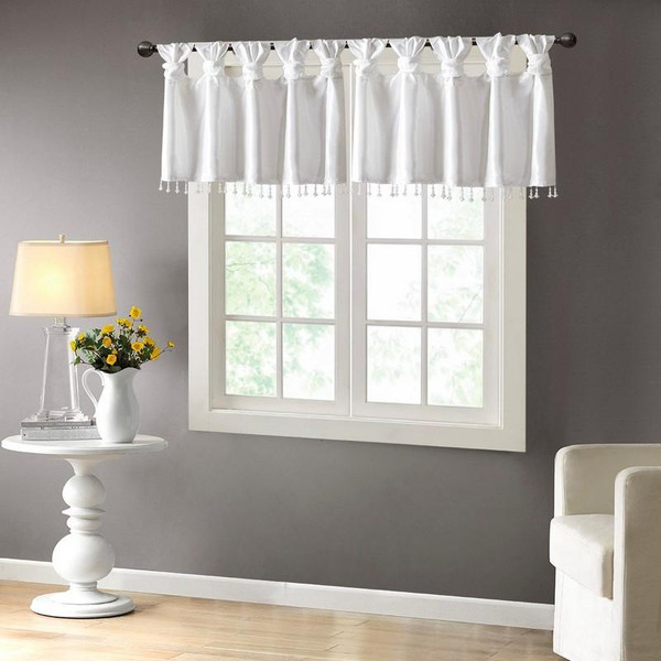 "100% Polyester Twisted Tab Valance With Beads -50X26"" MP41-4453 By Olliix"