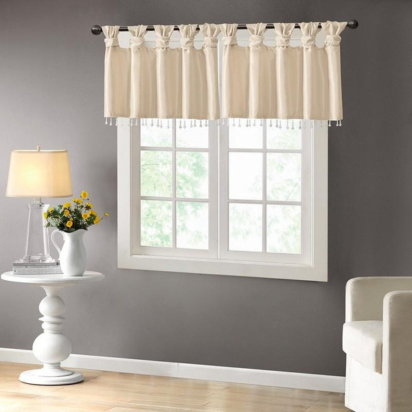 """100% Polyester Twisted Tab Valance With Beads -50X26"""" MP41-4454 By Olliix"""