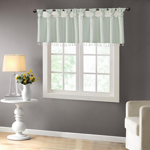 """100% Polyester Twisted Tab Valance With Beads -50X26"""" MP41-4455 By Olliix"""