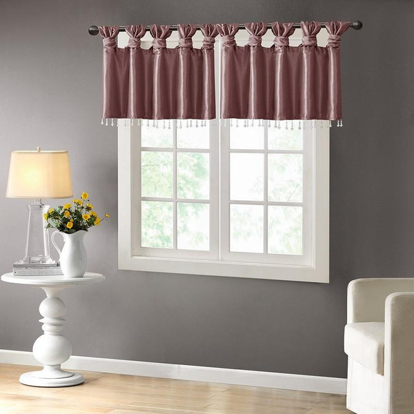 """100% Polyester Twisted Tab Valance With Beads -50X26"""" MP41-4476 By Olliix"""