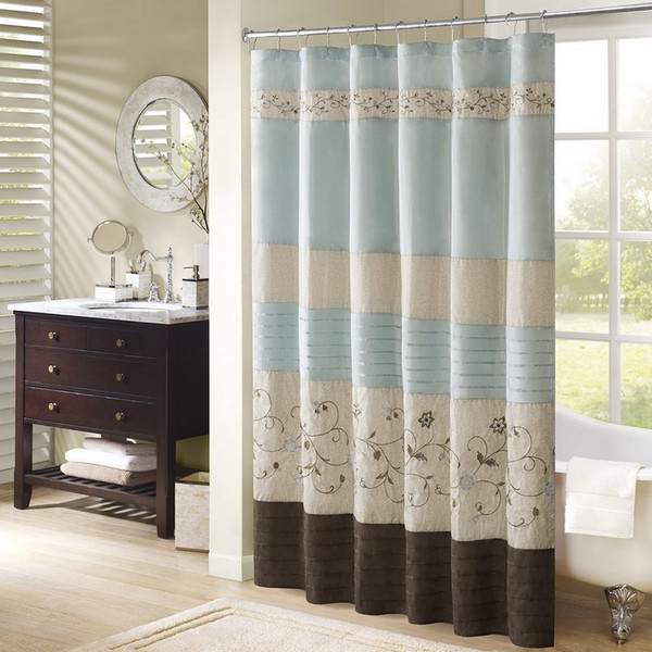 "Faux Silk Embroidered Floral Shower Curtain -72X72"" MP70-1392 By Olliix"