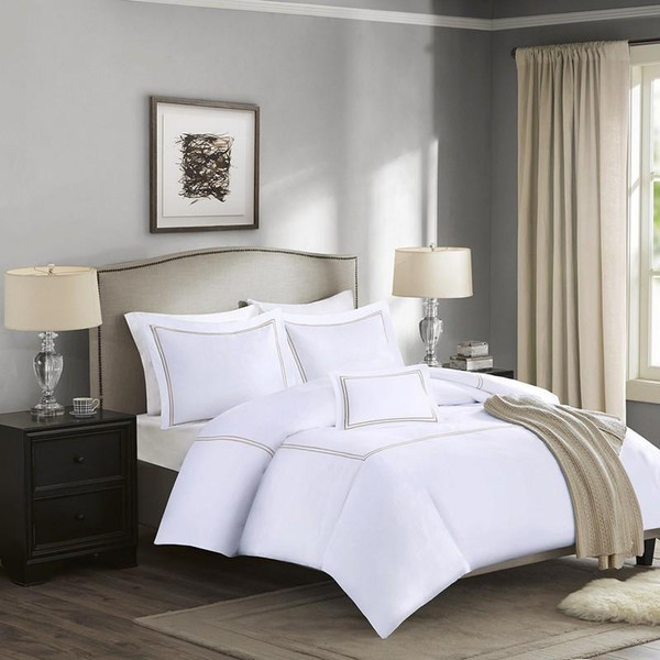 1000 Thread Count Embroidered Cotton Sateen Duvet Cover Set -King MPS12-098 By Olliix
