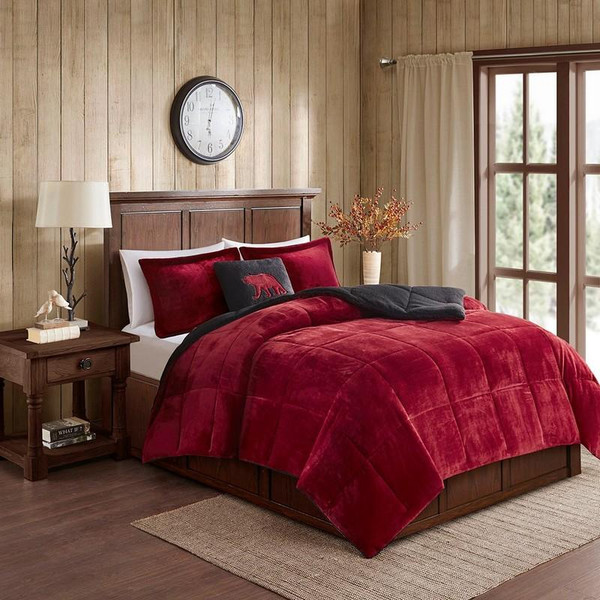 Woolrich Plush To Sherpa Down Alternative Comforter Set -Twin WR10-2064 By Olliix