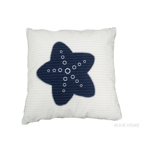 AB003 White Pillow Blue Star By Old Modern Handicrafts