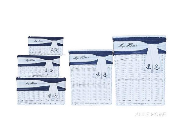 AB013 Set Of 5 Rectangular Willow Baskets
