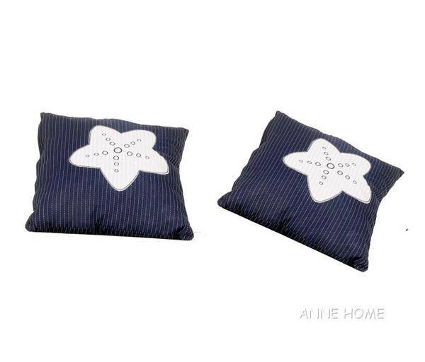 AB902 Blue Pillow White Star Set Of 2