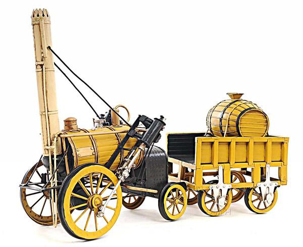 AJ011 Decoration 1829 Yellow Stephenson Rocket Steam Locomotive Model
