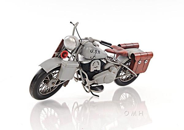 AJ024 Decoration 1945 Grey Motorcycle 1:12 by Old Modern Handicrafts
