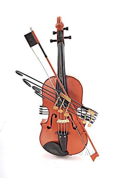 AJ027 Decoration Orange Vintage Violin by Old Modern Handicrafts
