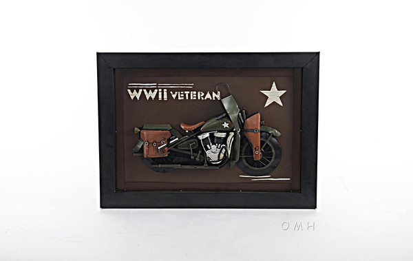 AJ045 Vintage WWII Motorcycle 3D Painting by Old Modern Handicrafts