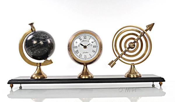 AK031 Armillery, Clock & Globe on Wood Base by Old Modern Handicrafts