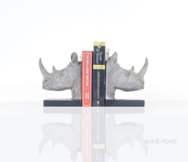 AT013 Rhino Head Bookend - Set Of 2