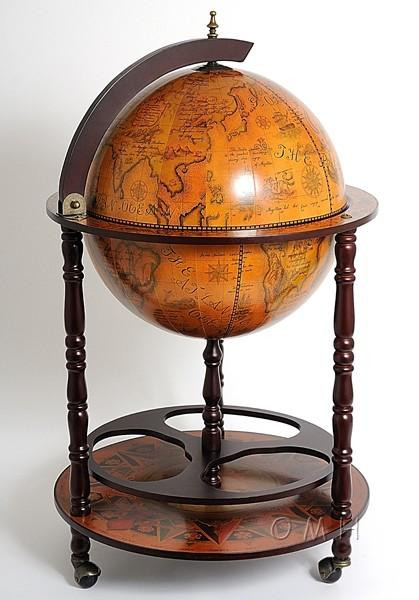 NG001 Old Nautical Map Globe Drink Cabinet - Red