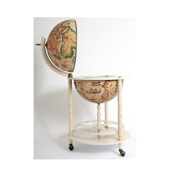 NG002 Old Nautical Map Globe Drink Cabinet - White