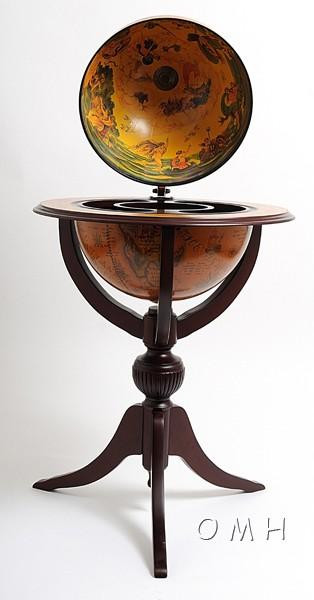 NG003 Old Nautical Map Globe Bar Table with 3 Legs - Red