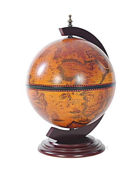 "NG019 Red 13"" Globe with Chess Holder by Old Modern Handicrafts"