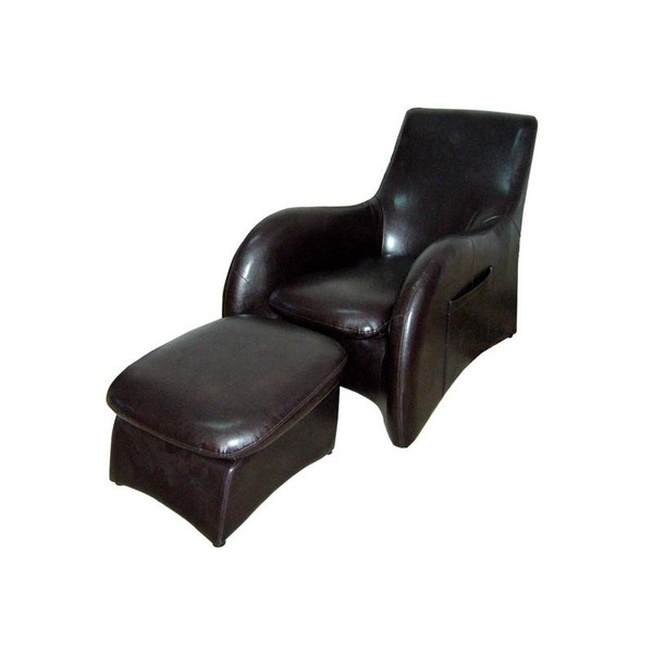 HB4172 Ore International Solo Brown Sofa With Separate Leg Rest