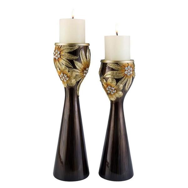 K-4250C Ore International 14-16 Inch Golden Demeter Candle Holder Set